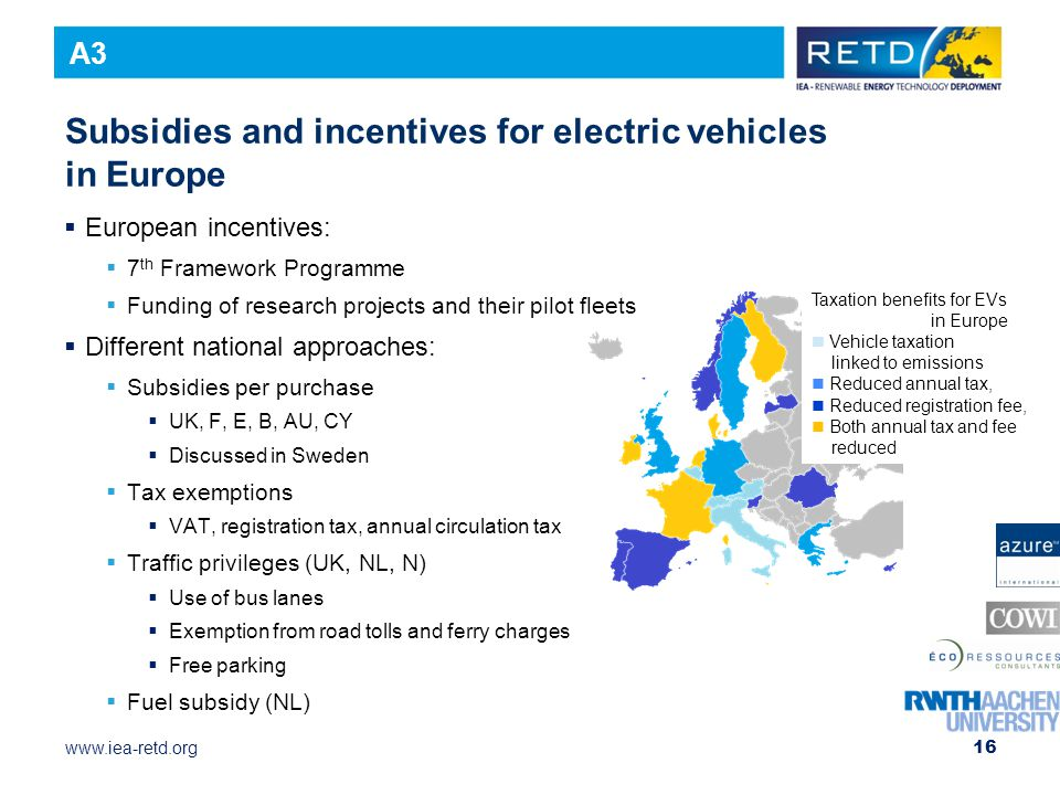 www.iea-retd.org 16 Subsidies and incentives for electric vehicles in Europe  European incentives:  7 th Framework Programme  Funding of research projects and their pilot fleets  Different national approaches:  Subsidies per purchase  UK, F, E, B, AU, CY  Discussed in Sweden  Tax exemptions  VAT, registration tax, annual circulation tax  Traffic privileges (UK, NL, N)  Use of bus lanes  Exemption from road tolls and ferry charges  Free parking  Fuel subsidy (NL) Taxation benefits for EVs in Europe Vehicle taxation linked to emissions Reduced annual tax, Reduced registration fee, Both annual tax and fee reduced A3