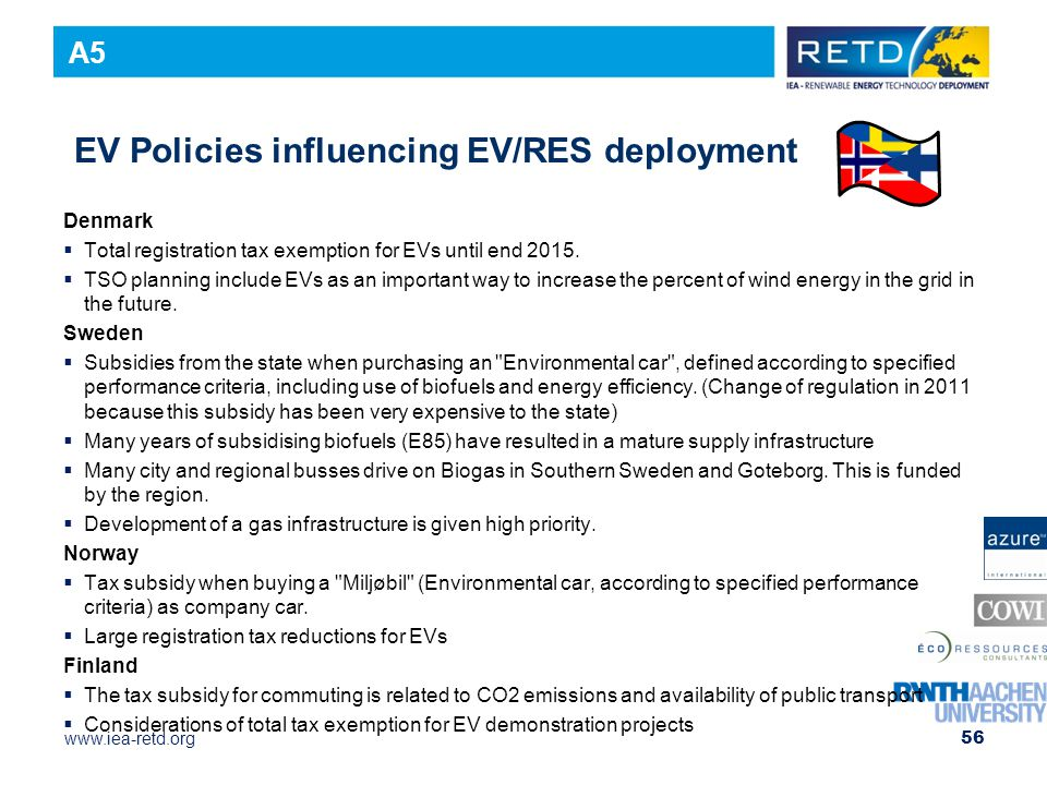 www.iea-retd.org EV Policies influencing EV/RES deployment Denmark  Total registration tax exemption for EVs until end 2015.  TSO planning include E