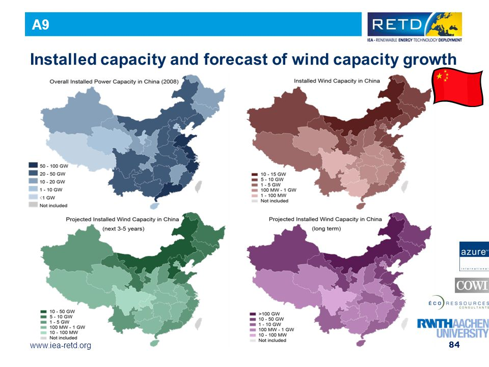 www.iea-retd.org Installed capacity and forecast of wind capacity growth 84 A9