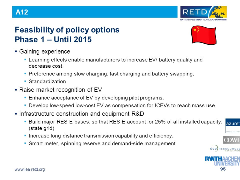 www.iea-retd.org Feasibility of policy options Phase 1 – Until 2015  Gaining experience  Learning effects enable manufacturers to increase EV/ battery quality and decrease cost.