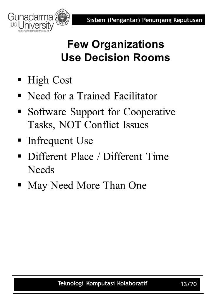 Sistem (Pengantar) Penunjang Keputusan Teknologi Komputasi Kolaboratif 13/20 Few Organizations Use Decision Rooms  High Cost  Need for a Trained Fac