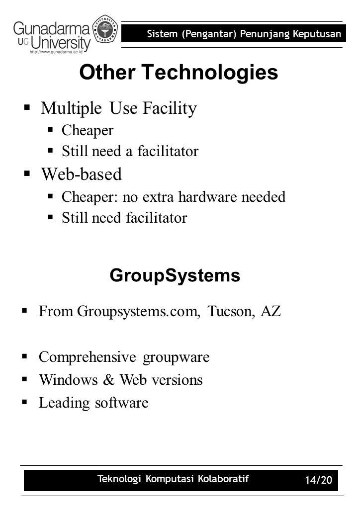 Sistem (Pengantar) Penunjang Keputusan Teknologi Komputasi Kolaboratif 14/20 Other Technologies  Multiple Use Facility  Cheaper  Still need a facil