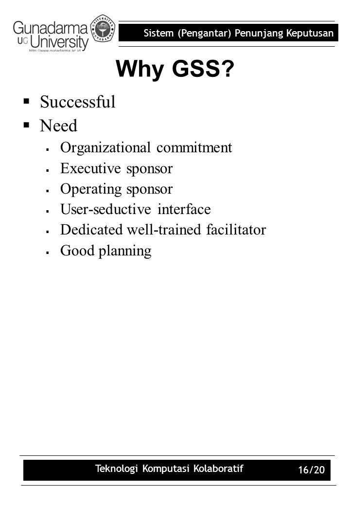 Sistem (Pengantar) Penunjang Keputusan Teknologi Komputasi Kolaboratif 16/20 Why GSS?  Successful  Need  Organizational commitment  Executive spon