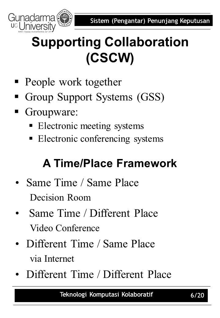 Sistem (Pengantar) Penunjang Keputusan Teknologi Komputasi Kolaboratif 6/20 Supporting Collaboration (CSCW)  People work together  Group Support Sys