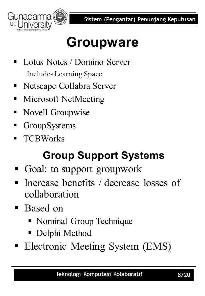 Sistem (Pengantar) Penunjang Keputusan Teknologi Komputasi Kolaboratif 8/20 Groupware  Lotus Notes / Domino Server Includes Learning Space  Netscape