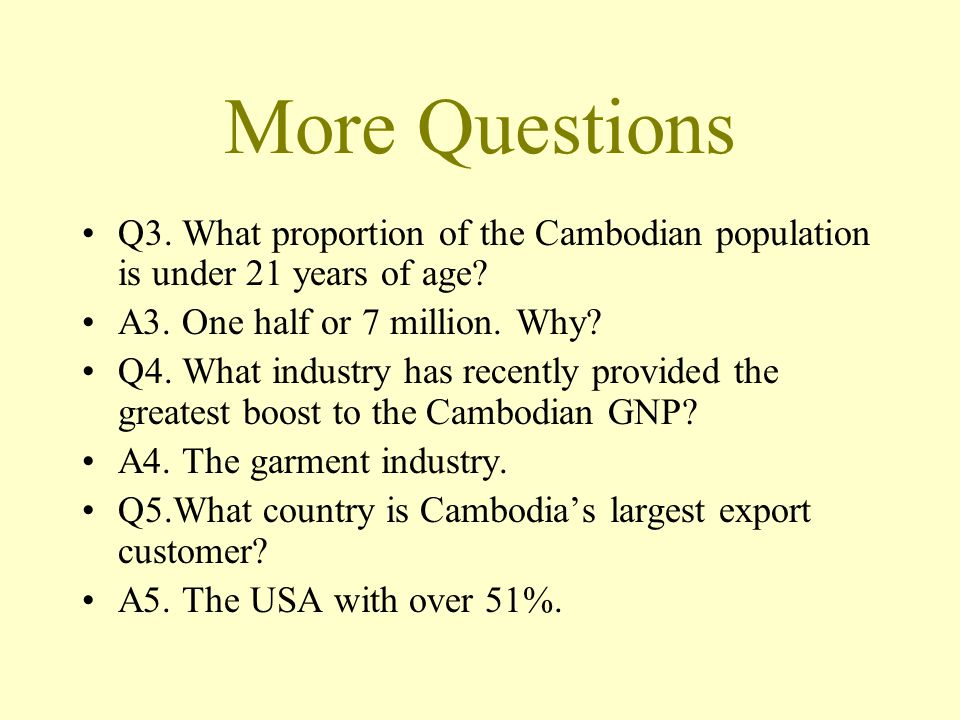 More Questions Q3. What proportion of the Cambodian population is under 21 years of age.