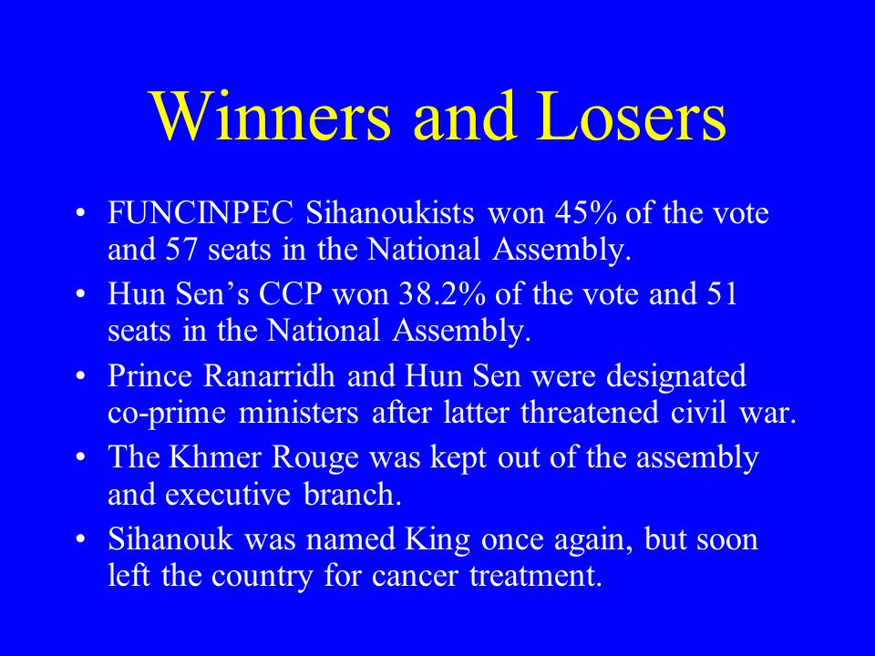 Winners and Losers FUNCINPEC Sihanoukists won 45% of the vote and 57 seats in the National Assembly.
