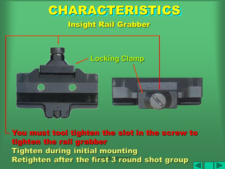 Foreign Disclosure 1 DO NOT DAMAGE GAS TUBE ARMORER IS THE ONLY ONE AUTHORIZED TO INSTALL BRACKET MOUNTING RAIL M4/M16A2 Bracket Assembly CHARACTERISTICSCHARACTERISTICS