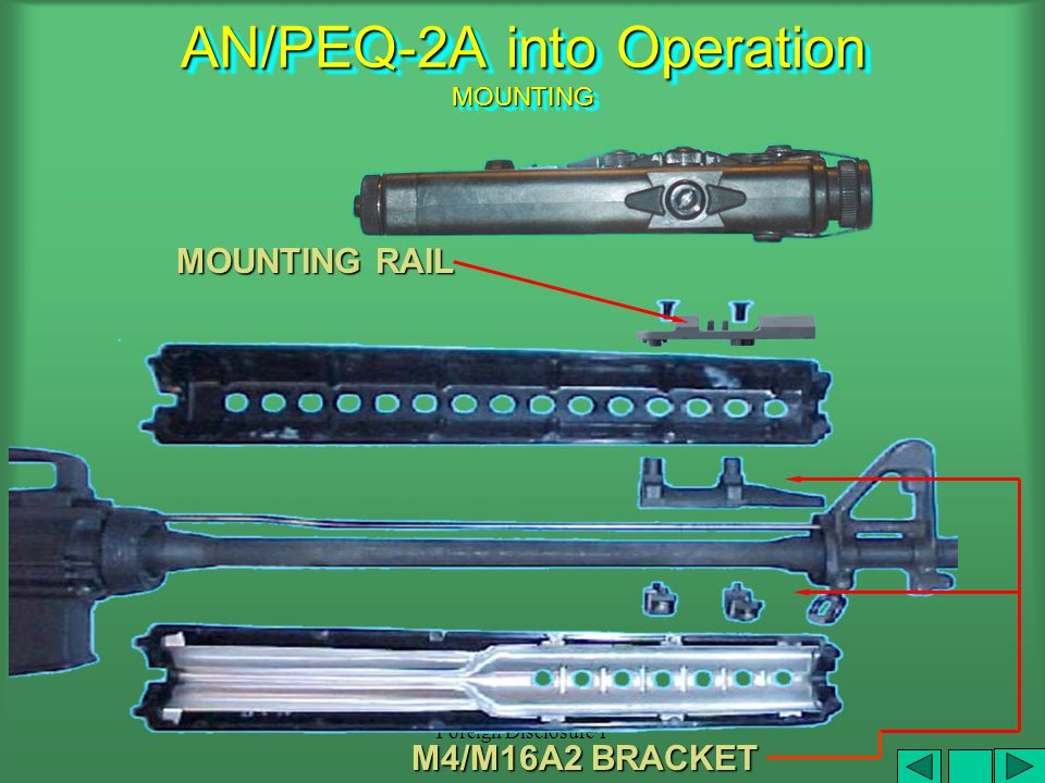 Foreign Disclosure 1 Enabling Learning Objective C Action: Put the AN/PEQ-2A into Operation Conditions: Given an AN/PEQ-2A, NVD, 4 AA batteries, selec