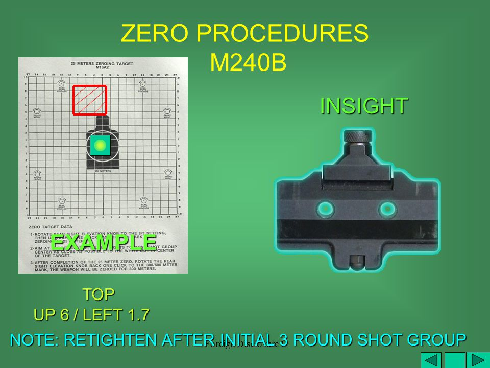 Foreign Disclosure 1 ZERO PROCEDURES M249 TOP TOP DOWN.5 / LEFT 2 PICATINNY NOTE: RETIGHTEN AFTER INITIAL 3 ROUND SHOT GROUP NOTE: RETIGHTEN AFTER INITIAL 3 ROUND SHOT GROUP EXAMPLE
