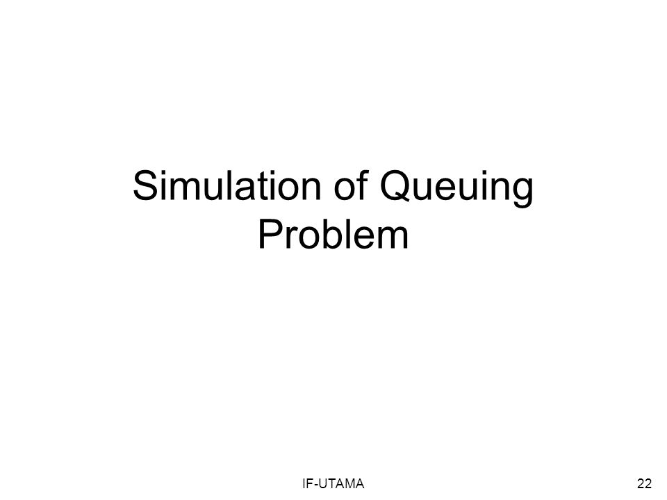 IF-UTAMA22 Simulation of Queuing Problem