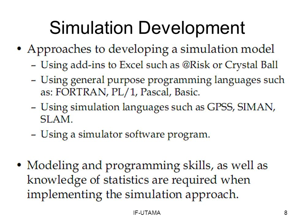 IF-UTAMA8 Simulation Development