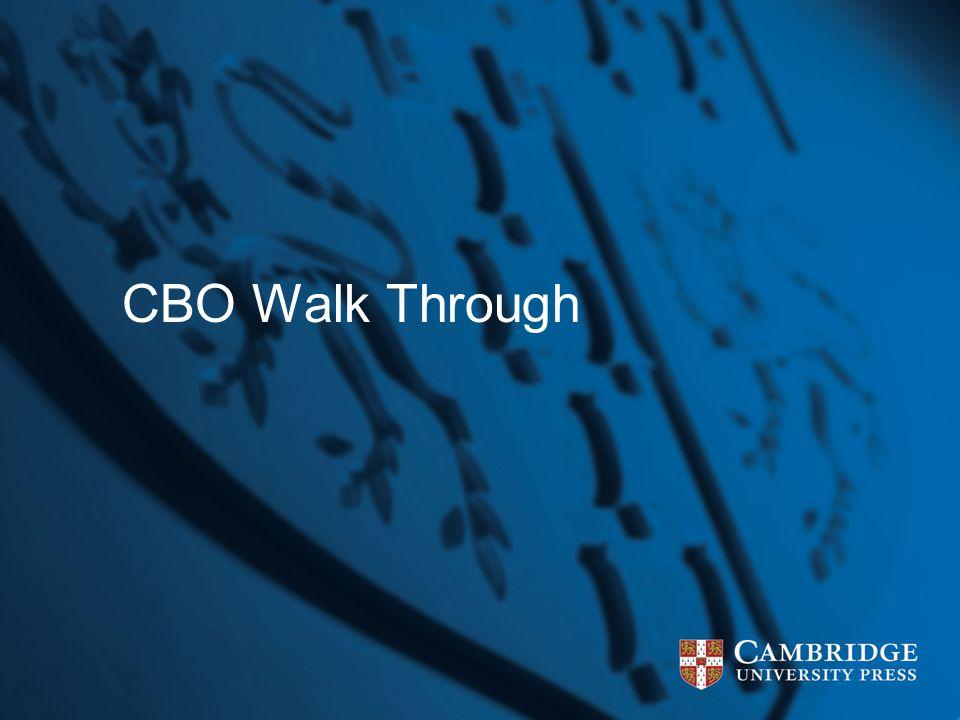 CBO Walk Through