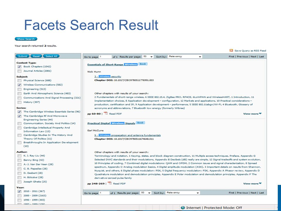 Facets Search Result
