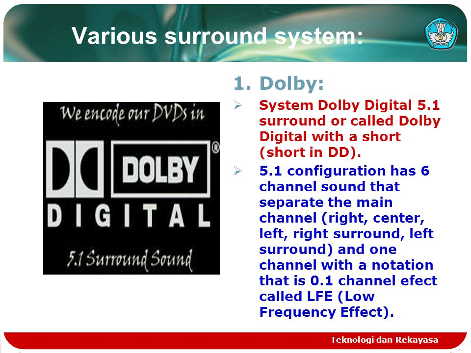 Various surround system: 1.Dolby:  System Dolby Digital 5.1 surround or called Dolby Digital with a short (short in DD).