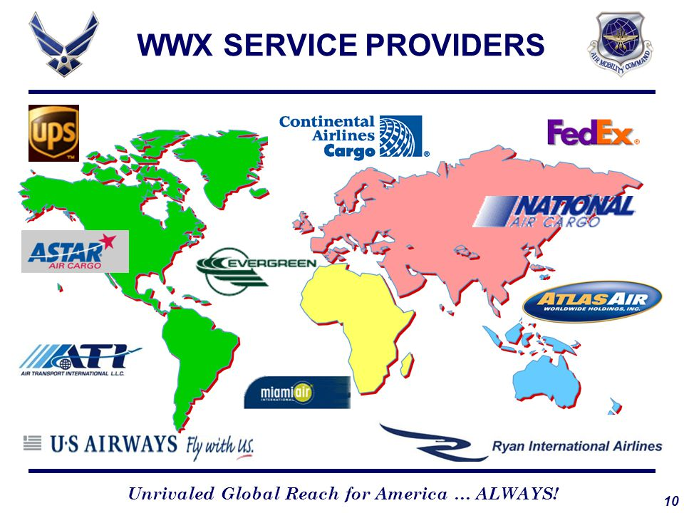 10 Unrivaled Global Reach for America … ALWAYS! WWX SERVICE PROVIDERS