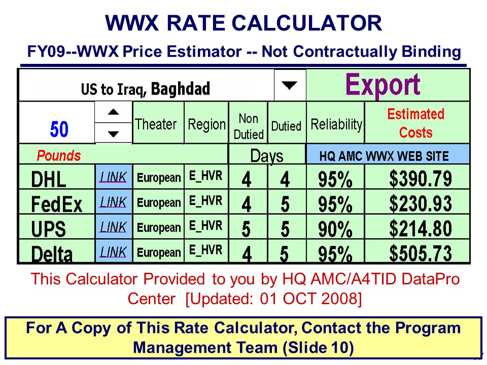 17 Unrivaled Global Reach for America … ALWAYS! WWX RATE CALCULATOR FY09--WWX Price Estimator -- Not Contractually Binding This Calculator Provided to