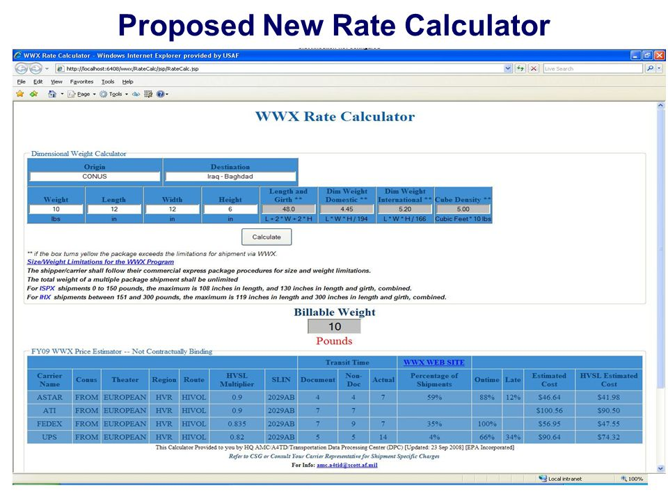 19 Unrivaled Global Reach for America … ALWAYS! Proposed New Rate Calculator