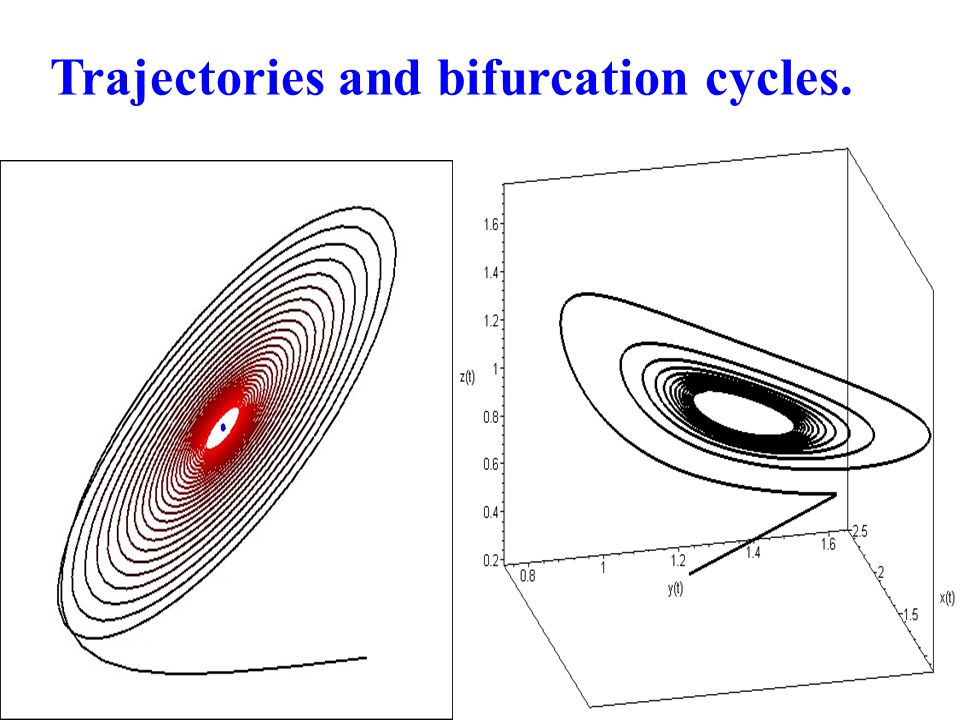 Trajectories and bifurcation cycles.