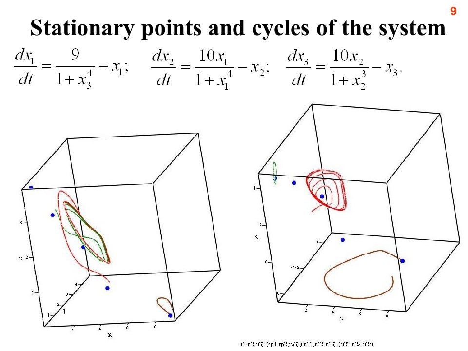 рублей. Stationary points and cycles of the system 9