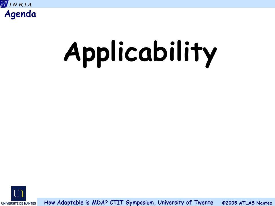©2005 ATLAS Nantes How Adaptable is MDA? CTIT Symposium, University of Twente Agenda Applicability