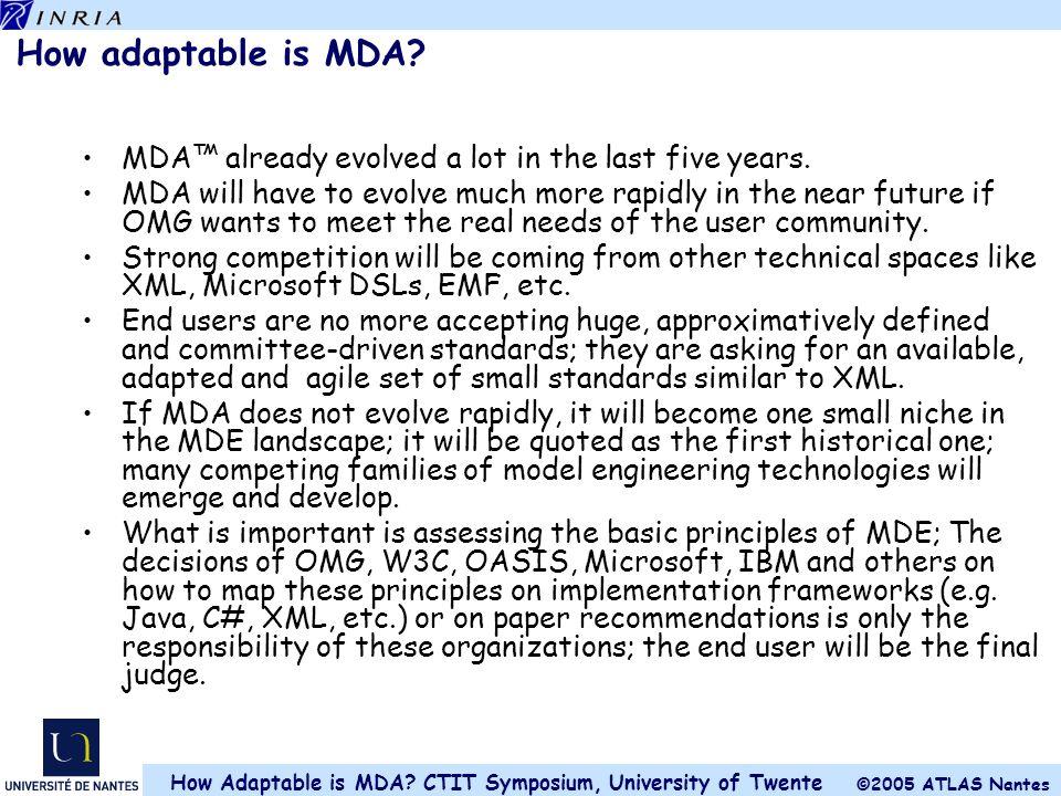 ©2005 ATLAS Nantes How Adaptable is MDA.CTIT Symposium, University of Twente How adaptable is MDA.