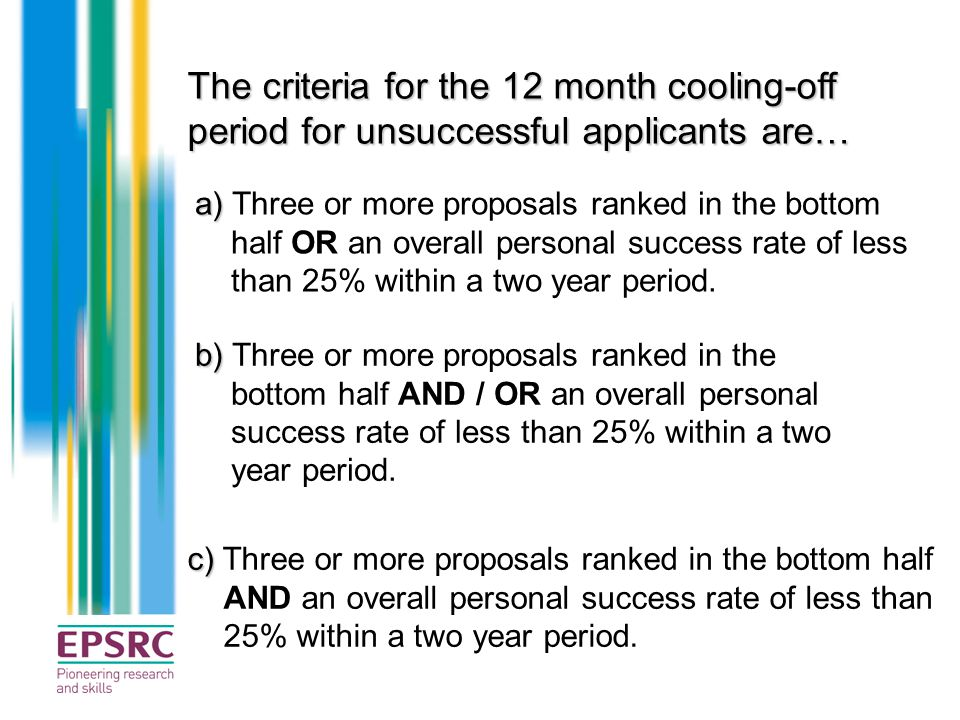 The criteria for the 12 month cooling-off period for unsuccessful applicants are… a) a) Three or more proposals ranked in the bottom half OR an overal