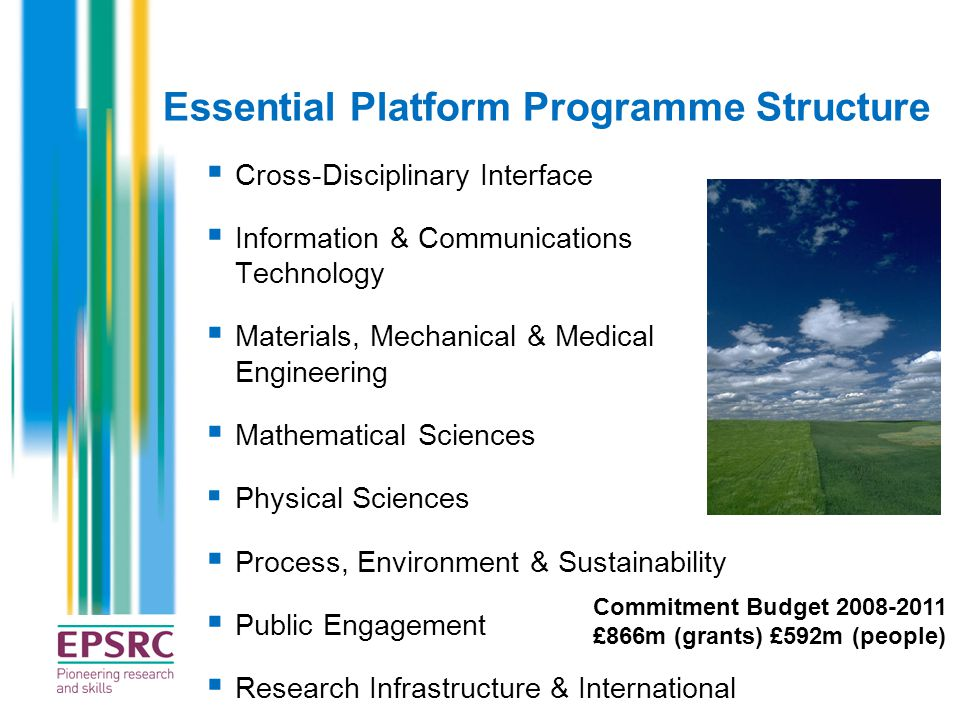 Essential Platform Programme Structure  Cross-Disciplinary Interface  Information & Communications Technology  Materials, Mechanical & Medical Engi