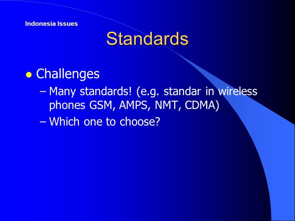 Standards l Challenges –Many standards. (e.g.