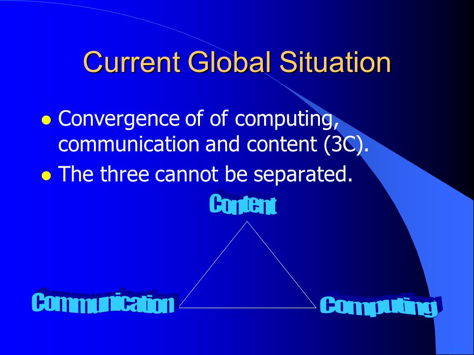 Internet Explosion l Internet creates new opportunities and challenges Current Global Situation