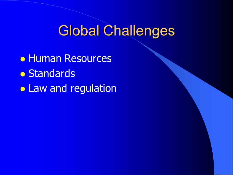 Global Challenges l Human Resources l Standards l Law and regulation