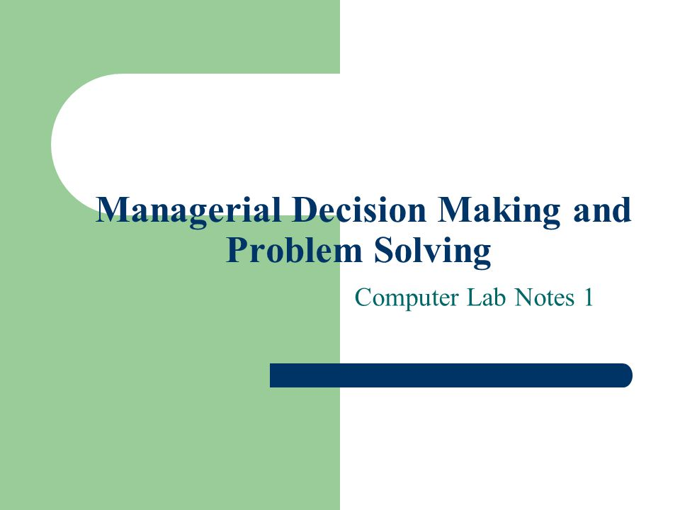 Managerial Decision Making and Problem Solving Computer Lab Notes 1
