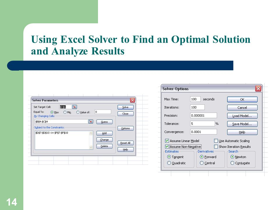 Using Excel Solver to Find an Optimal Solution and Analyze Results 14