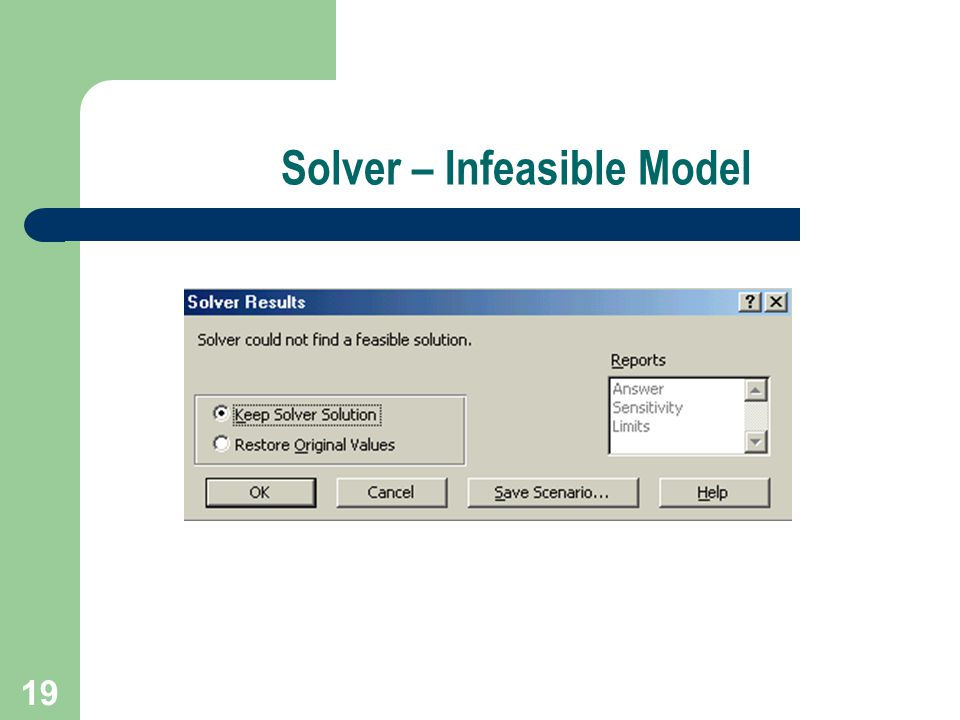 19 Solver – Infeasible Model