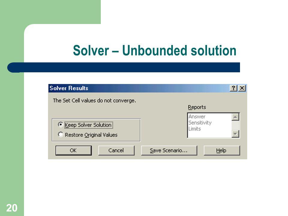 20 Solver – Unbounded solution