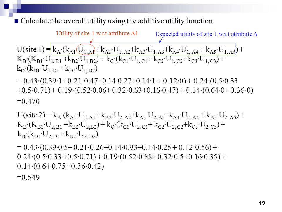 19 Calculate the overall utility using the additive utility function U(site 1) = k A ∙(k A1 ∙U 1, A1 + k A2 ∙U 1, A2 +k A3 ∙U 1, A3 +k A4 ∙U 1,,A4 + k A5 ∙U 1, A5 ) + K B ∙(K B1 ∙U 1, B1 +k B2 ∙U 1,B2 ) + k C ∙(k C1 ∙U 1, C1 + k C2 ∙U 1, C2 +k C3 ∙U 1, C3 ) + k D ∙(k D1 ∙U 1, D1 + k D2 ∙U 1, D2 ) = 0.43∙(0.39∙1+ 0.21∙0.47+0.14∙0.27+0.14∙1 + 0.12∙0) + 0.24∙(0.5∙0.33 +0.5∙0.71) + 0.19∙(0.52∙0.06+ 0.32∙0.63+0.16∙0.47) + 0.14∙(0.64∙0+ 0.36∙0) =0.470 U(site 2) = k A ∙(k A1 ∙U 2, A1 + k A2 ∙U 2, A2 +k A3 ∙U 2, A3 +k A4 ∙U 2,,A4 + k A5 ∙U 2, A5 ) + K B ∙(K B1 ∙U 2, B1 +k B2 ∙U 2,B2 ) + k C ∙(k C1 ∙U 2, C1 + k C2 ∙U 2, C2 +k C3 ∙U 2, C3 ) + k D ∙(k D1 ∙U 2, D1 + k D2 ∙U 2, D2 ) = 0.43∙(0.39∙0.5+ 0.21∙0.26+0.14∙0.93+0.14∙0.25 + 0.12∙0.56) + 0.24∙(0.5∙0.33 +0.5∙0.71) + 0.19∙(0.52∙0.88+ 0.32∙0.5+0.16∙0.35) + 0.14∙(0.64∙0.75+ 0.36∙0.42) =0.549 Utility of site 1 w.r.t attribute A1 Expected utility of site 1 w.r.t attribute A
