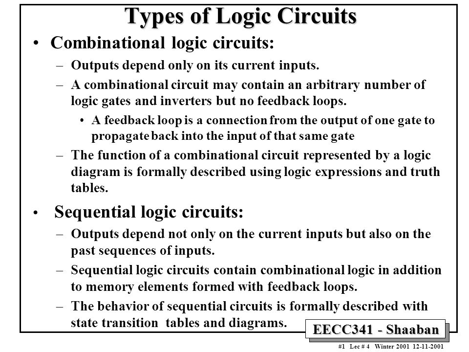 EECC341 - Shaaban #1 Lec # 4 Winter 2001 12-11-2001 Types of Logic Circuits Combinational logic circuits: –Outputs depend only on its current inputs.