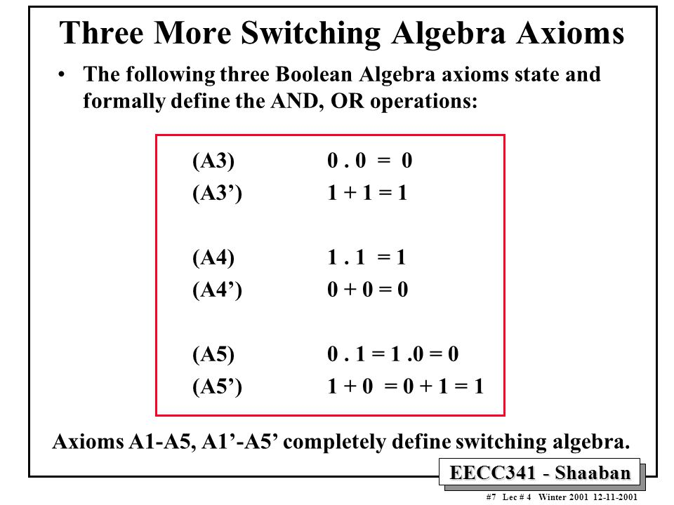 EECC341 - Shaaban #7 Lec # 4 Winter 2001 12-11-2001 Three More Switching Algebra Axioms The following three Boolean Algebra axioms state and formally define the AND, OR operations: (A3) 0.