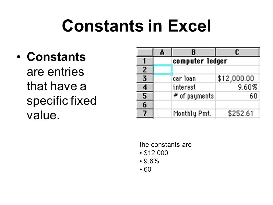 Constants in Excel Constants are entries that have a specific fixed value. the constants are $12,000 9.6% 60