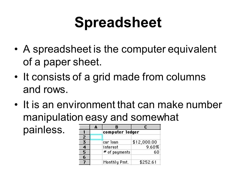 Spreadsheet A spreadsheet is the computer equivalent of a paper sheet. It consists of a grid made from columns and rows. It is an environment that can