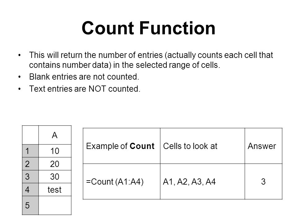 Count Function This will return the number of entries (actually counts each cell that contains number data) in the selected range of cells. Blank entr