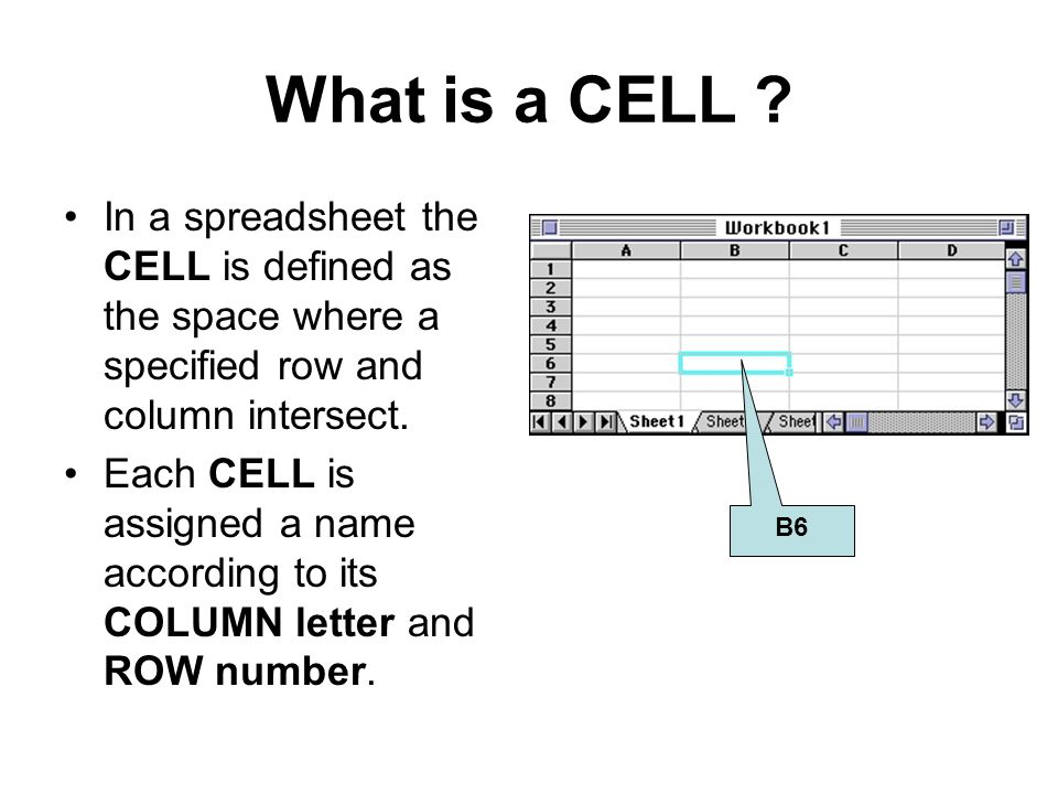 What is a CELL ? In a spreadsheet the CELL is defined as the space where a specified row and column intersect. Each CELL is assigned a name according
