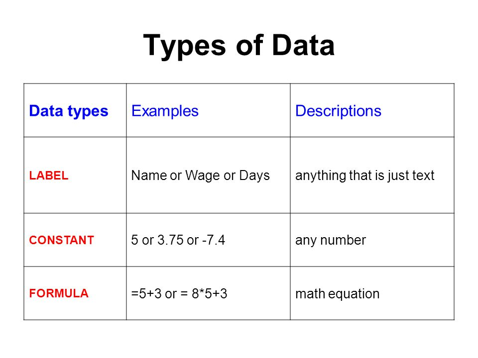 Types of Data Data typesExamplesDescriptions LABEL Name or Wage or Daysanything that is just text CONSTANT 5 or 3.75 or -7.4any number FORMULA =5+3 or