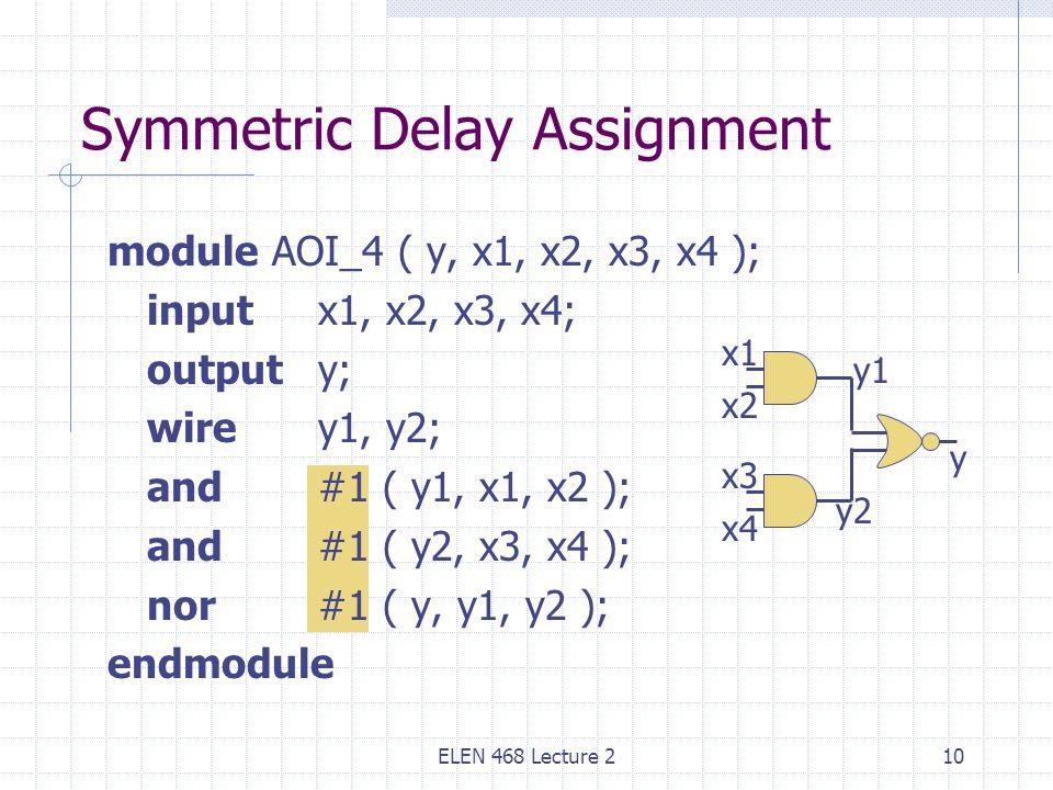 ELEN 468 Lecture 210 Symmetric Delay Assignment module AOI_4 ( y, x1, x2, x3, x4 ); input x1, x2, x3, x4; output y; wire y1, y2; and#1 ( y1, x1, x2 ); and #1 ( y2, x3, x4 ); nor#1 ( y, y1, y2 ); endmodule x1 x2 x3 x4 y1 y2 y