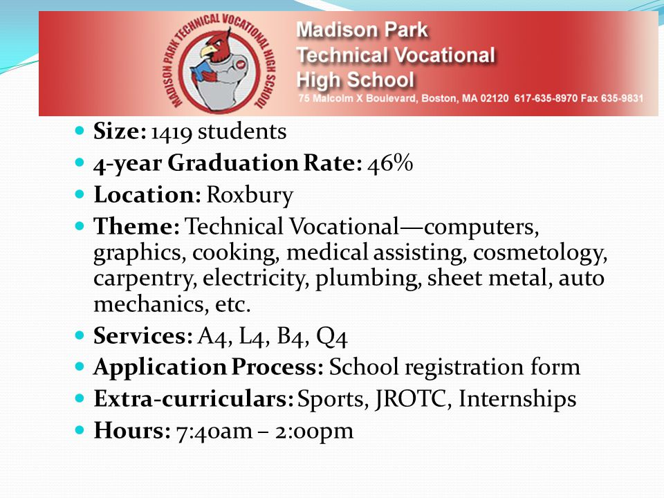 Size: 1419 students 4-year Graduation Rate: 46% Location: Roxbury Theme: Technical Vocational—computers, graphics, cooking, medical assisting, cosmetology, carpentry, electricity, plumbing, sheet metal, auto mechanics, etc.
