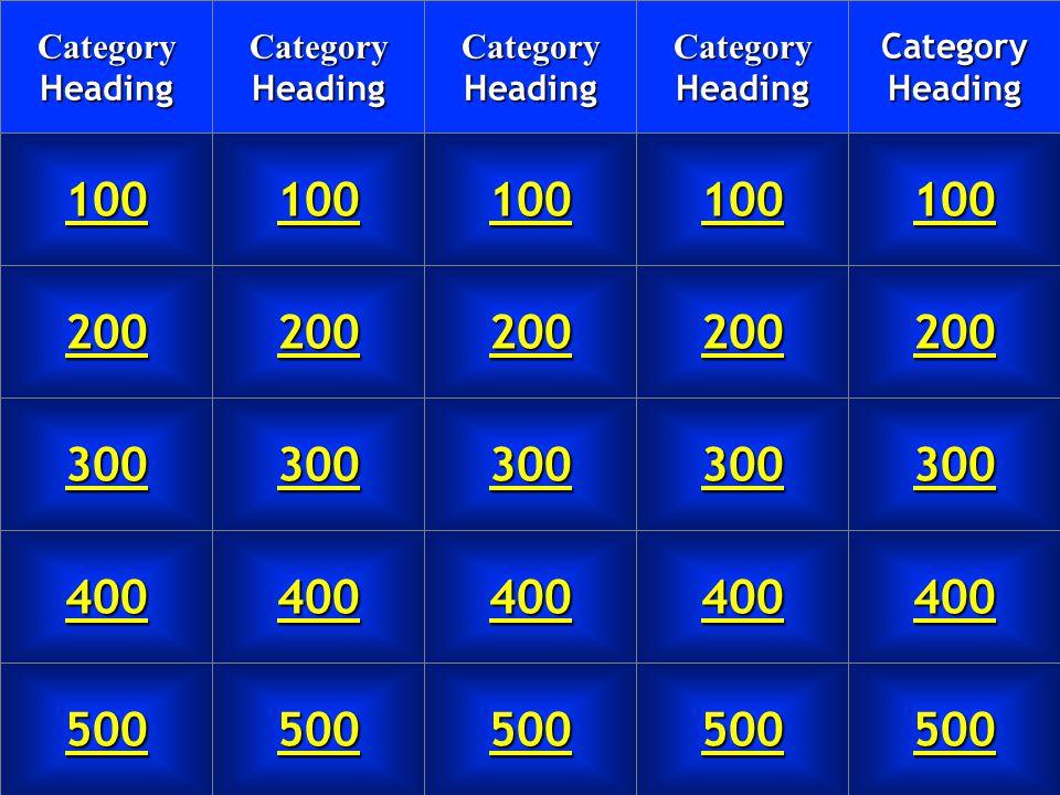 Jeopardy Board Category Heading 100 200 300 400 500 Category Heading Category Heading Category Heading Category Heading