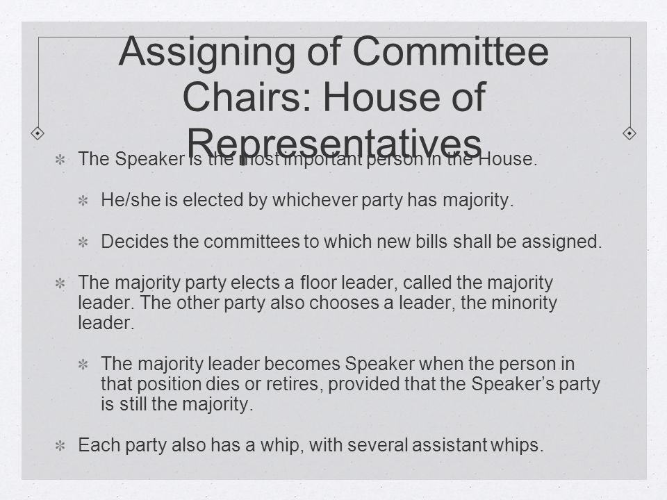 Assigning of Committee Chairs: House of Representatives The Speaker is the most important person in the House.