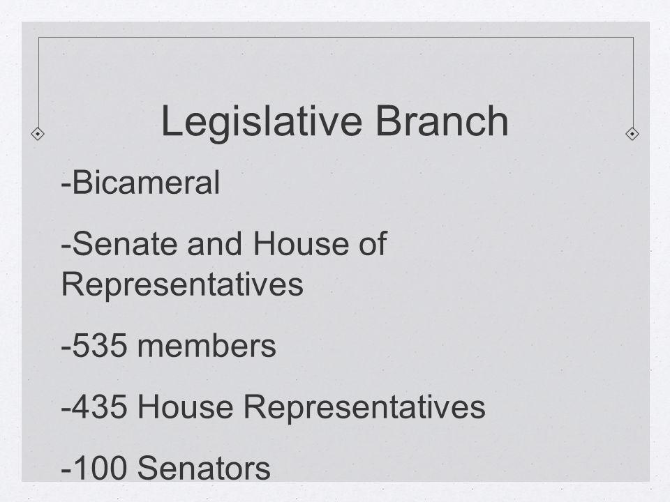 Legislative Branch -Bicameral -Senate and House of Representatives -535 members -435 House Representatives -100 Senators