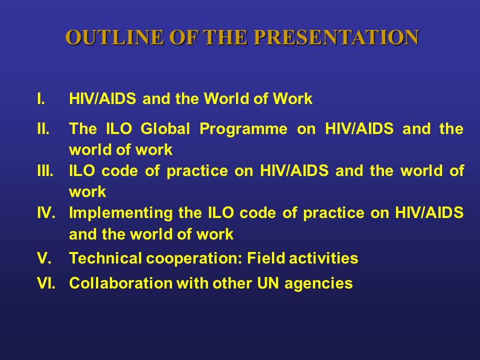 I. I.HIV/AIDS and the World of Work II. II.The ILO Global Programme on HIV/AIDS and the world of work III. III.ILO code of practice on HIV/AIDS and th