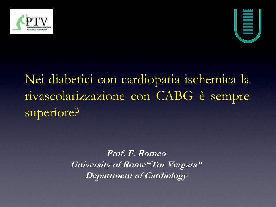 Nei diabetici con cardiopatia ischemica la rivascolarizzazione con CABG è sempre superiore.